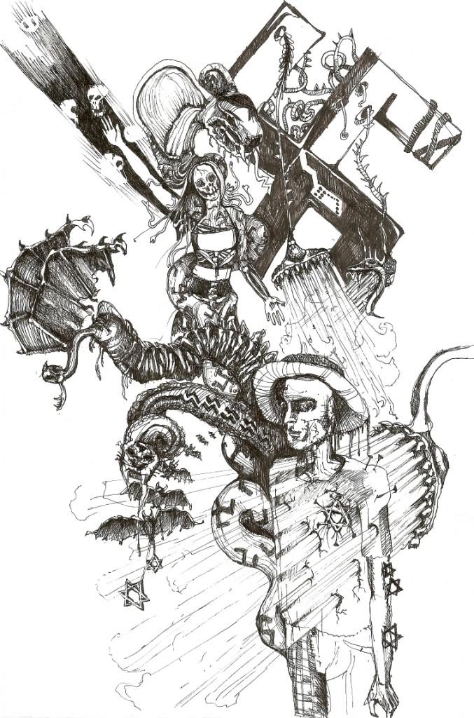 Osvienčim - skica, jedna z víťazných prác súťaže Doodle art