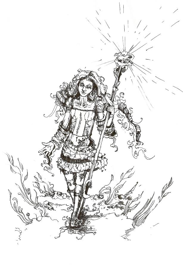 Rozpravková princezná - skica, jedna z víťazných prác súťaže Doodle art