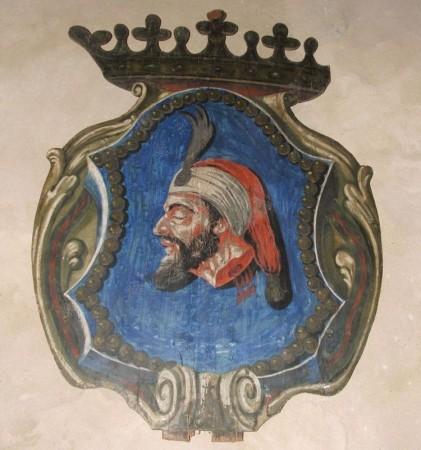 Čákiovský erb reflektuje zásluhy v bojoch proti Turkom.
