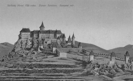 Podobu Spišského hradu zachytil v roku 1720 neznámy maliar.
