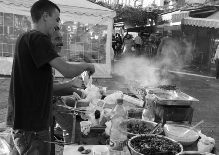 Rýchle občerstvenie v moslimskej časti starého Jeruzalema