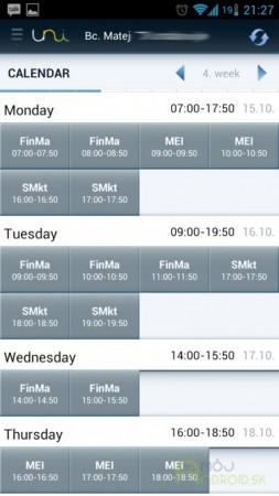 Zobrazenie rozvrhu hodín v mobilnej aplikácii UniApps
