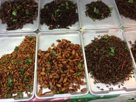 Tradičnou bielkovinovou pochúťkou v Ázii sú vyprážané kobylky a červíky. Dostať ich na každom rohu v centre Bangkoku.