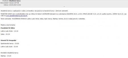 Akadémia tanca si robí reklamu, využiva aj študentské maily_zdroj_studentmail.ukf.sk._3